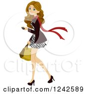 Clipart Of A Woman In A Zebra Print Dress Walking With A Cell Phone In Hand Royalty Free Vector Illustration by BNP Design Studio