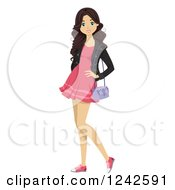 Clipart Of A Young Woman Posing In A Pink Dress Royalty Free Vector Illustration