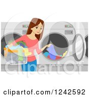 Clipart Of A Brunette Woman Putting Clothes In A Laundromat Machine Royalty Free Vector Illustration by BNP Design Studio