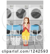 Clipart Of A Young Brunette Woman Waiting At The Laundromat Royalty Free Vector Illustration by BNP Design Studio
