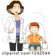 Clipart Of A Female Dentist Standing By A Happy Smiling Boy Royalty Free Vector Illustration by BNP Design Studio