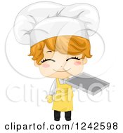 Clipart Of A Happy Baker Boy Holding A Tray Royalty Free Vector Illustration