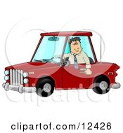 Man With An Extreme Buzz Driving While Intoxicated And Putting Other People At Danger Clipart Illustration