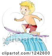 Clipart Of A Blond Boy Surfing A Wave Royalty Free Vector Illustration by BNP Design Studio