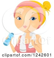Clipart Of A Blond Woman Wearing A Headband And Drinking From A Water BottleR Royalty Free Vector Illustration