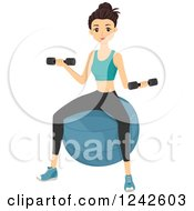 Clipart Of A Fit Woman Sitting On An Exercising And Working Out With Dumbbells Royalty Free Vector Illustration