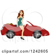 Beautiful Brunette Woman Sitting On A Sports Car