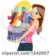 Clipart Of A Teenage Girl Carrying A Basket Of Laundry Royalty Free Vector Illustration