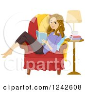 Clipart Of A Teenage Girl Reading A Book Sideways In A Chair Royalty Free Vector Illustration by BNP Design Studio