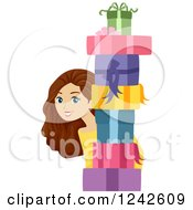 Clipart Of A Young Brunette Woman Peeking Behind A Stack Of Gifts Royalty Free Vector Illustration