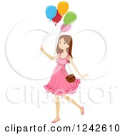 Clipart Of A Teen Girl In A Pink Dress Walking With Balloons Royalty Free Vector Illustration