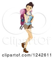 Clipart Of A Young Woman With A Hiking Backpack Royalty Free Vector Illustration