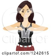 Clipart Of A Mad Teen Girl Tearing Apart A Picture After A Breakup Royalty Free Vector Illustration