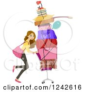 Clipart Of A Young Woman Pushing Belongings On A Chair While Moving Into A Dorm Royalty Free Vector Illustration