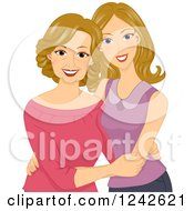Clipart Of A Caucasian Woman Embracing Her Middle Aged Mom Royalty Free Vector Illustration