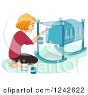 Red Haired Woman Painting A Baby Crib Blue