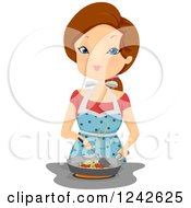 Clipart Of A Woman Frying Food At A Stove Top Royalty Free Vector Illustration