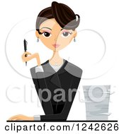 Clipart Of A Businesswoman Holding A Pen By A Stack Of Paperwork Royalty Free Vector Illustration by BNP Design Studio