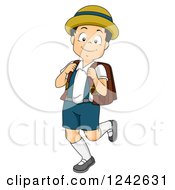Clipart Of A Happy Japanese Boy In A Common School Uniform Royalty Free Vector Illustration