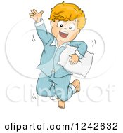 Clipart Of A Happy Red Haired Boy Jumping In His Pjs Royalty Free Vector Illustration