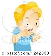 Clipart Of A Nervous Boy Quivering Royalty Free Vector Illustration