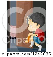 Clipart Of A Boy Sneaking Out Of The House Royalty Free Vector Illustration