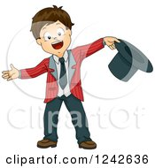 Clipart Of A Boy Welcoming An Audience With His Top Hat In Hand Royalty Free Vector Illustration