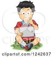 Clipart Of A Thinking Asian Boy Sitting With A Tablet In Grass Royalty Free Vector Illustration