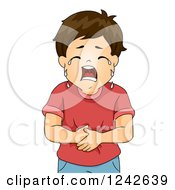 Clipart Of A Boy Crying And Holding His Tummy Royalty Free Vector Illustration