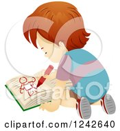 Clipart Of A Boy Kneeling On The Floor And Drawing In A Book Royalty Free Vector Illustration