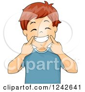 Clipart Of A Happy Red Haired Boy Pulling Up His Mouth To Form A Big Smile Royalty Free Vector Illustration