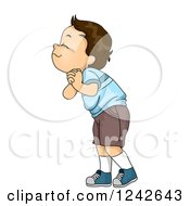 Clipart Of A Brunette Boy Smelling And Clasping His Hands Royalty Free Vector Illustration