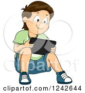 Clipart Of A Boy Sitting On The Ground And Playing On A Tablet Computer Royalty Free Vector Illustration