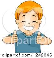 Clipart Of A Pleased Red Haired Boy Holding Two Thumbs Up Royalty Free Vector Illustration