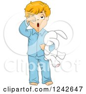 Clipart Of A Tired Boy Rubbing His Eyes And Yawning In His Pajamas Royalty Free Vector Illustration