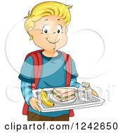 Happy Blond School Boy Carrying A Cafeteria Lunch Tray