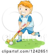 Clipart Of A Happy Red Haired Boy Playing Field Hockey Royalty Free Vector Illustration by BNP Design Studio