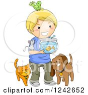 Clipart Of A Happy Blond Boy With His Pets Royalty Free Vector Illustration