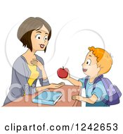 Clipart Of A Pleased Teacher Receiving An Apple From A School Boy Royalty Free Vector Illustration