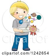 Clipart Of A Blond Boy Holding A Solar System Science Project Royalty Free Vector Illustration by BNP Design Studio