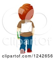 Clipart Of A Rear View Of A School Boy Walking With A Sign On His Back Royalty Free Vector Illustration