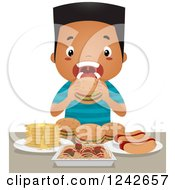 Clipart Of A Black Boy Binge Eating Hot Dogs Burgers Spaghetti And Pancakes Royalty Free Vector Illustration