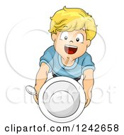 Clipart Of A Blond Boy Holding Up An Empty Bowl Royalty Free Vector Illustration