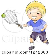 Clipart Of A Happy Blond Boy Hitting A Tennis Ball Royalty Free Vector Illustration