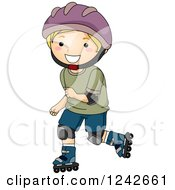 Clipart Of A Happy Blond Boy Roller Blading In Protective Gear Royalty Free Vector Illustration