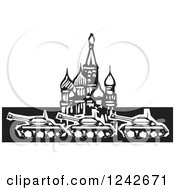 Clipart Of A Black And White Woodcut Russian Military Tanks At Kremlin In Red Square Royalty Free Vector Illustration by xunantunich