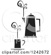 Clipart Of A Black And White Cup Of Coffee With Swirling Steam And A Pot Royalty Free Vector Illustration