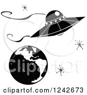 Ufo Flying Saucer Over Earth With Retro Stars