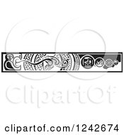 Clipart Of A Black And White Woodcut Serpent And Viking Border Royalty Free Vector Illustration by xunantunich