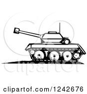 Clipart Of A Black And White Woodcut Military Tank Royalty Free Vector Illustration